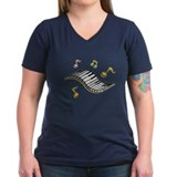 Piano Womens V-Neck T-shirts (Dark)