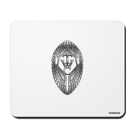 White Mousepad with Silver Round Eagle