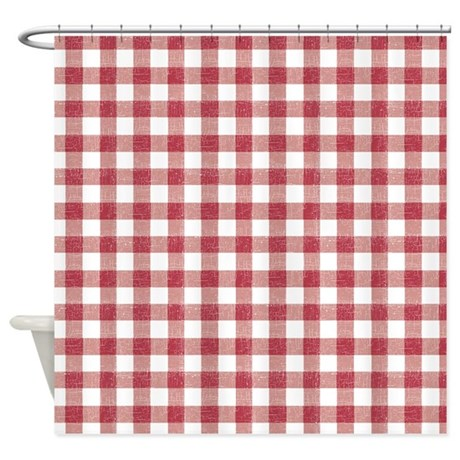 red and white plaid tablecloth shower curtain by be inspired by life