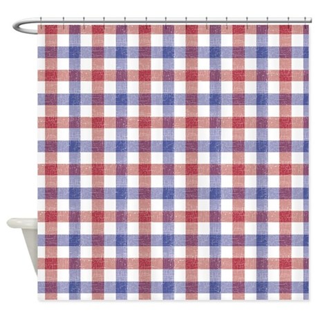 Red And Blue Plaid Tablecloth Shower Curtain By Be Inspired By Life