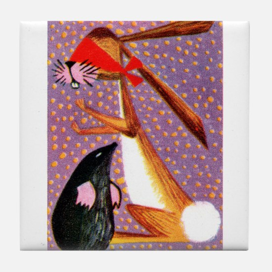 The Mole and Rabbit Fable French Matchbox Label Ti
