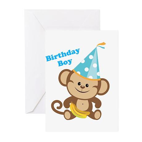 Birthday Boy Monkey Greeting Cards (Pk of 20)