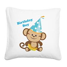 Birthday Boy Monkey Square Canvas Pillow