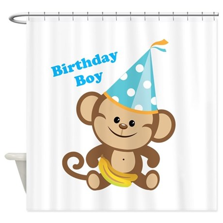 Birthday Boy Monkey Shower Curtain
