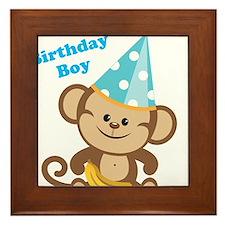 Birthday Boy Monkey Framed Tile