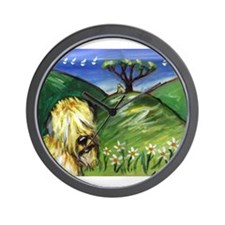 Wheaten by the ocean Wall Clock