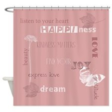 Pink Inspirational Words Shower Curtain
