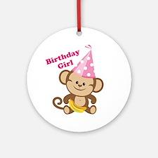 Birthday Girk Monkey Ornament (Round)