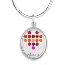 I Heart Maura Silver Oval Necklace