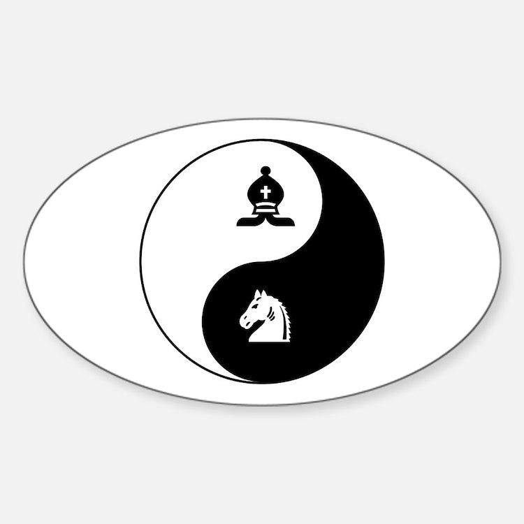 Bishop-Knight yin yang Oval Decal