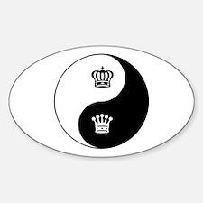 King-Queen yin yang Oval Decal