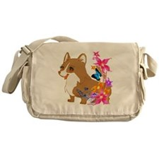 Red and White Corgi with Floral design Messenger B