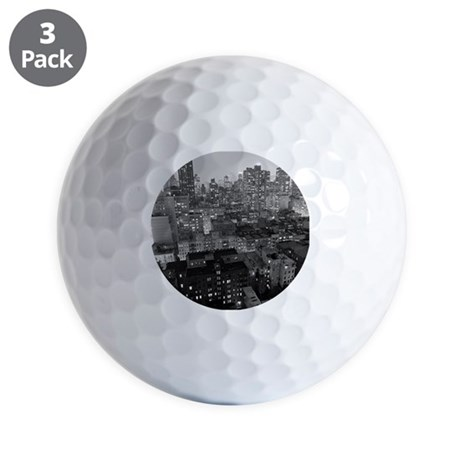 Golf Balls - View of New York City buildings at