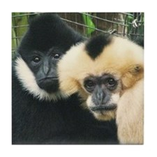 gibbon pair Tile Coaster