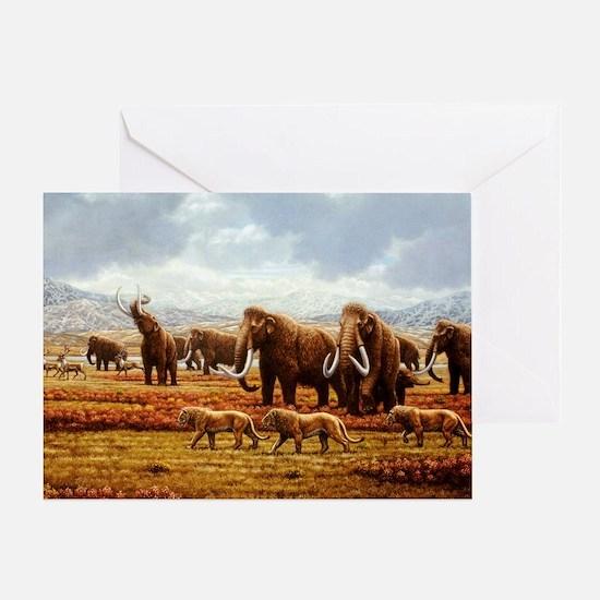 Greeting Card - Woolly mammoths