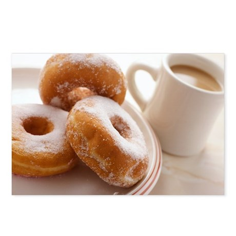 Postcards (Pk of 8) - Coffee and doughnuts