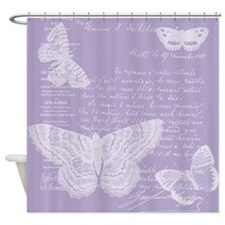 French Lilac Butterflies Shower Curtain