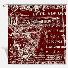 Vintage Red Script Shower Curtain