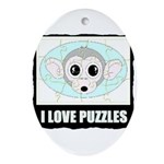 I LOVE PUZZLES Oval Ornament