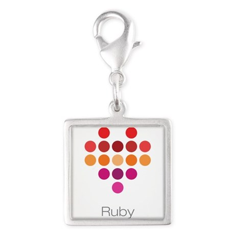 I Heart Ruby Silver Square Charm