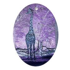 Purple Giraffe Ornament (Oval)