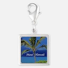 Maui Hawaii Silver Square Charm