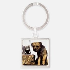 Border Terrier and Rat Square Keychain