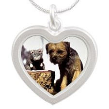 Border Terrier and Rat Silver Heart Necklace