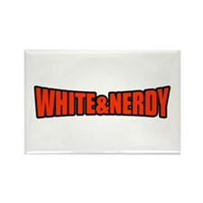White & Nerdy Rectangle Magnet