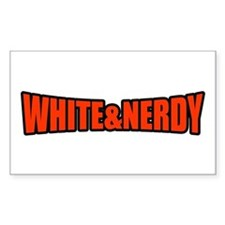 White & Nerdy Rectangle Decal
