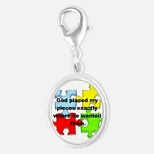 Autism Silver Oval Charm