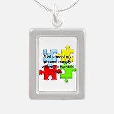 Autism Silver Portrait Necklace