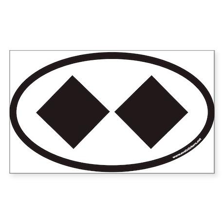 Double Black Diamond Ski Trail Euro Oval Sticker