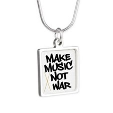 Make Music Not War Drums Silver Square Necklace