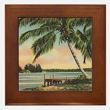 Vintage Coconut Palms Framed Tile