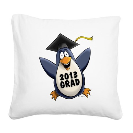 2013 Graduate Penguin Square Canvas Pillow
