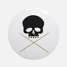 Skull with Drumsticks Ornament (Round)