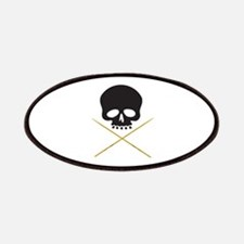 Skull with Drumsticks Patches