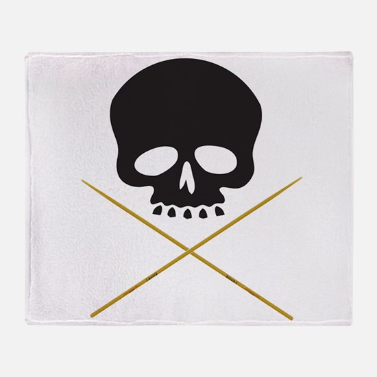 Skull with Drumsticks Throw Blanket