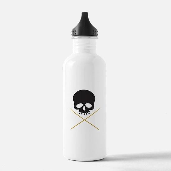 Skull with Drumsticks Water Bottle