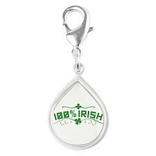 100% Irish St Patricks Day Silver Teardrop Charm