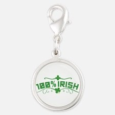 100% Irish St Patricks Day Silver Round Charm