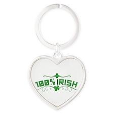 100% Irish St Patricks Day Heart Keychain