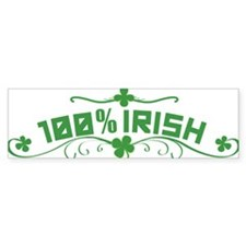 100% Irish St Patricks Day Bumper Bumper Sticker