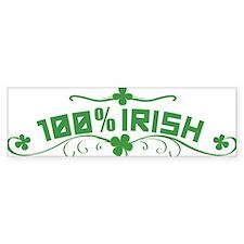 100% Irish St Patricks Day Bumper Car Sticker