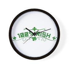 100% Irish St Patricks Day Wall Clock