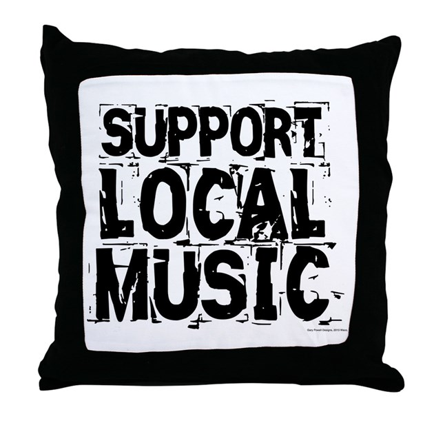 support local music throw pillow by listing store 80836593. Black Bedroom Furniture Sets. Home Design Ideas