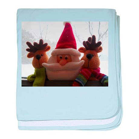Santa & Two Reindeers baby blanket