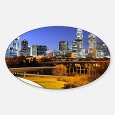 Sticker (Oval) - skyline of Uptown, the Financial