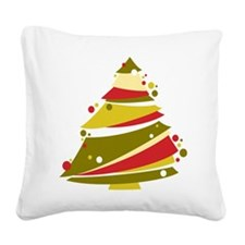 Festive Christmas Tree Square Canvas Pillow